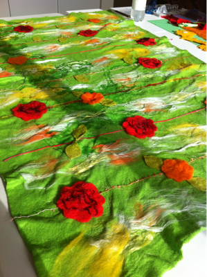 Wetting Down Felted BabyQuilt